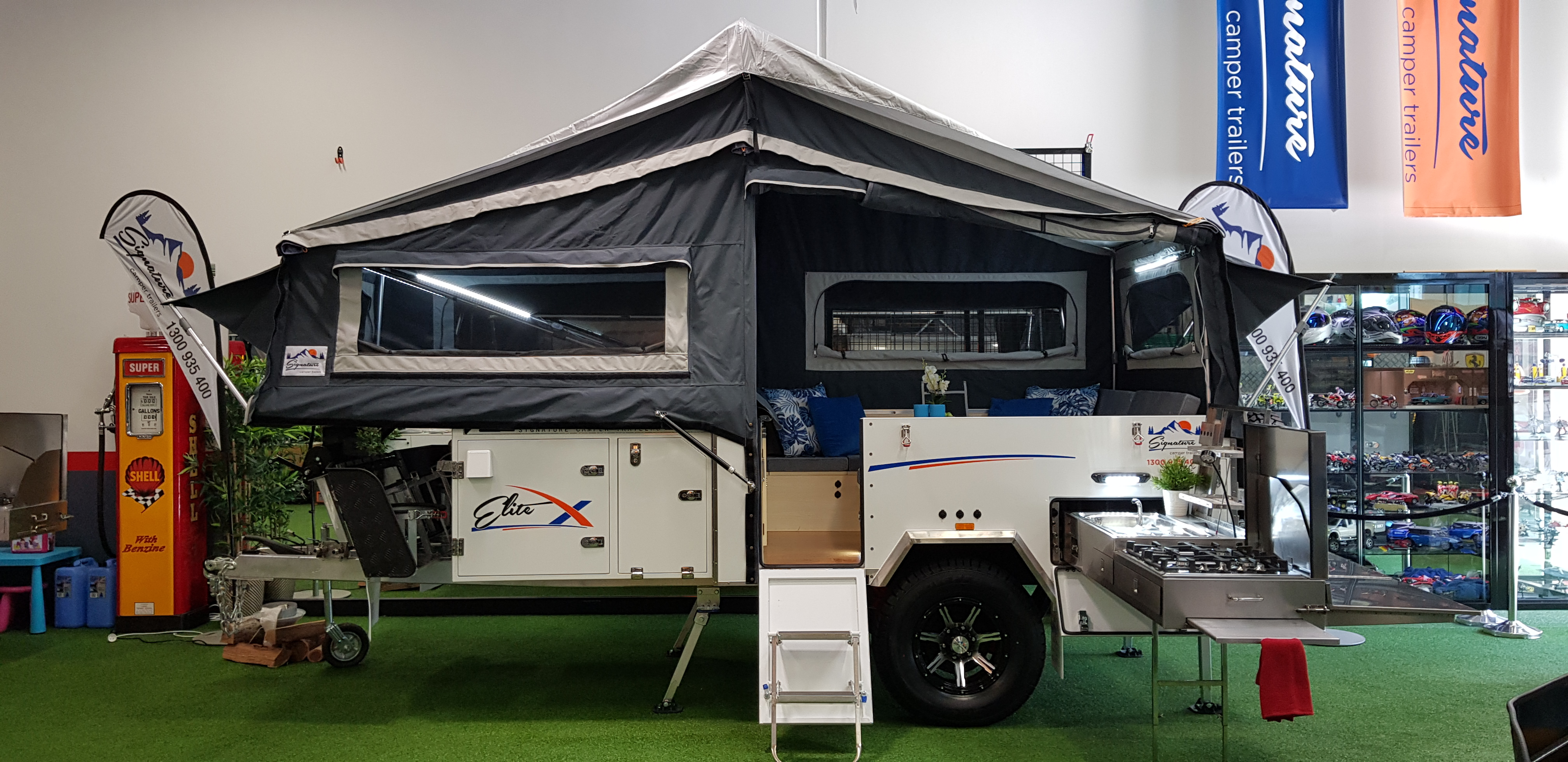Signature Elite X Camper Trailer Side View Tent Open