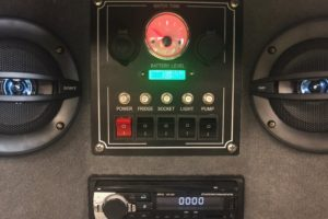 Signature Deluxe Camper Trailer Control Panel and Stereo